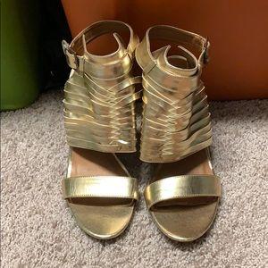 Gold Open Toed Wedge Heels
